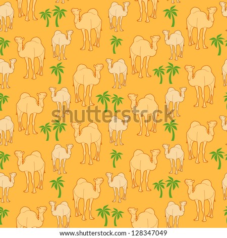 seamless repeat background of camels and palm tree - stock vector