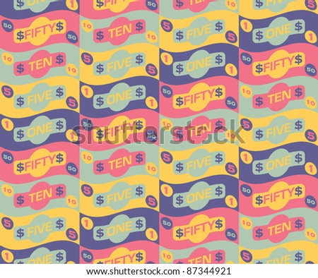 Seamless repeat money pattern - 1 - stock vector