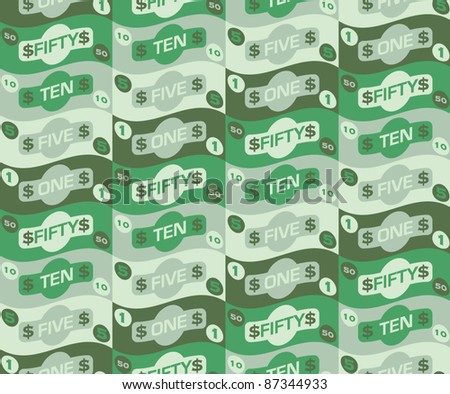 Seamless repeat money pattern - 3 - stock vector
