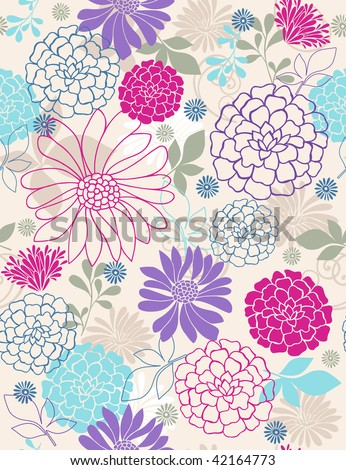 Seamless Repeat Pattern of Delicate Springtime Flowers- Vector Illustration Wallpaper - stock vector