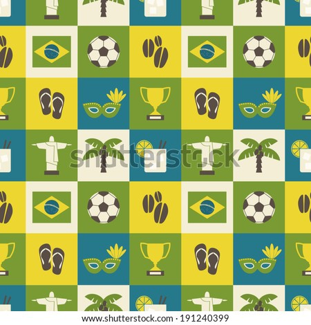 Seamless repeat pattern with Brazilian symbols in yellow, green and blue. - stock vector