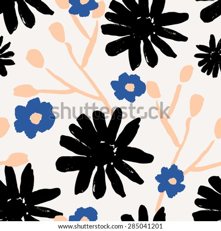 Seamless repeat pattern with flowers and branches in black, pink and blue. - stock vector