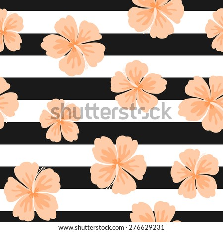 Seamless repeat pattern with hibiscus flowers on a black and white stripes background. - stock vector