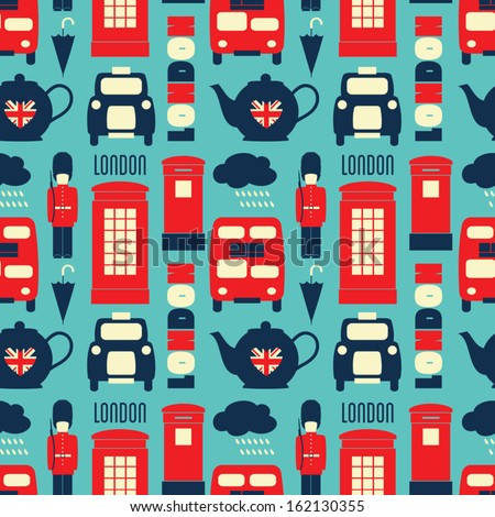 Seamless repeat pattern with London symbols in red, white and blue. - stock vector