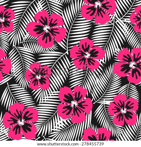 Seamless repeat pattern with pink hibiscus flowers and white palm leaves on black background. - stock vector
