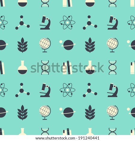 Seamless repeat pattern with science and education symbols in blue, dark gray and white. - stock vector