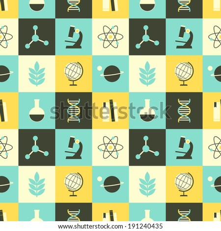 Seamless repeat pattern with science and education symbols in yellow, dark gray and blue. - stock vector