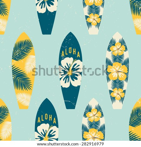 Seamless repeat pattern with surf boards in yellow and blue on a light blue background. - stock vector