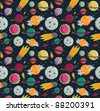 Seamless repeat solar system pattern - stock vector