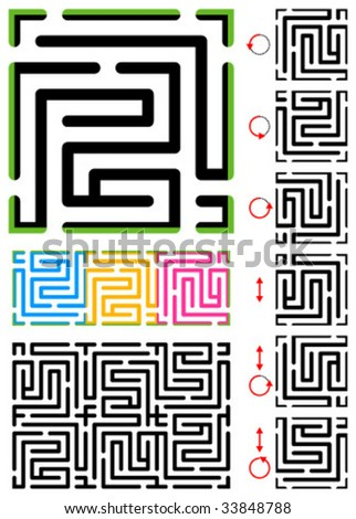Seamless (repeatable) 2d maze pattern with border, outline and samples of use - easy endless maze-maker - repeat, rotate, reflect your way to make various 2d mazes