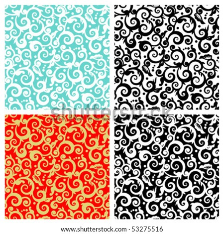 Seamless (repeatable) decorative floral scrolls vector patterns