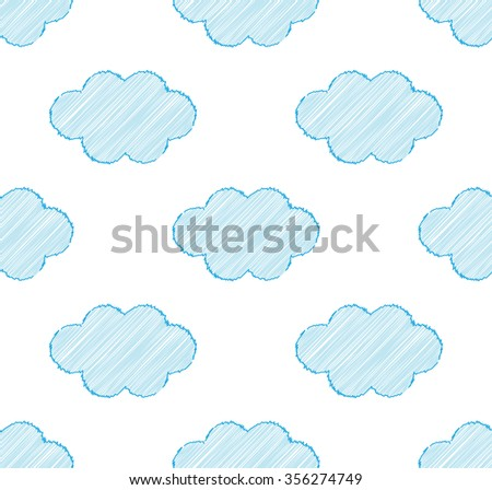 Seamless repeatable pattern with clouds on white background