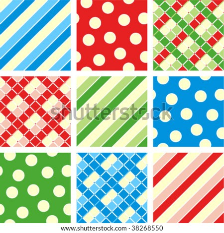 Seamless (repeatable) patterns (prints, backgrounds, wallpapers, swatches) - polka-dot, plaid, stripes - stock vector