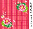 Seamless (repeatable) vector floral pattern or background with peony or wild rose flowers, butterflies and checkered backdrop ( for high res JPEG or TIFF see image 33567004 )