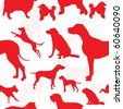 Seamless repeated patterns of various dogs in silhouettes. - stock vector