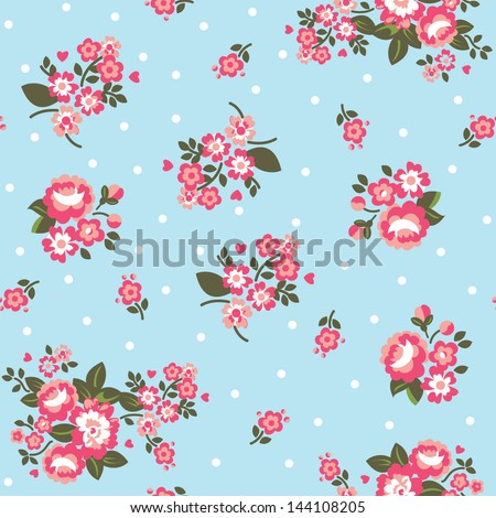 Seamless Repeating Background - Polka Dot Roses - stock vector