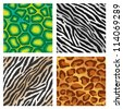 Seamless repeating colorful animal print backgrounds illustrations - stock vector