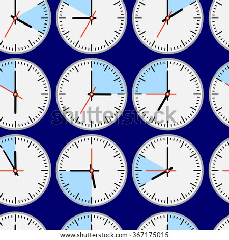 Seamless repeating pattern of the  clocks,  dial and hands