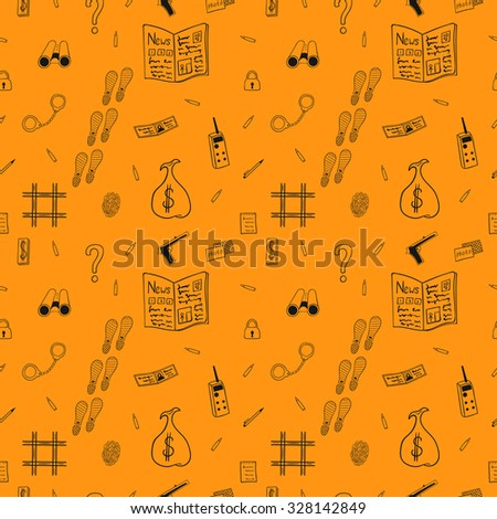 Seamless repeating pattern with objects for the detective Agency drawn lines on a orange background. - stock vector