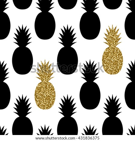 Seamless repeating pattern with pineapples in black and gold glitter on white background. Modern textile, greeting card, poster, wrapping paper designs. - stock vector