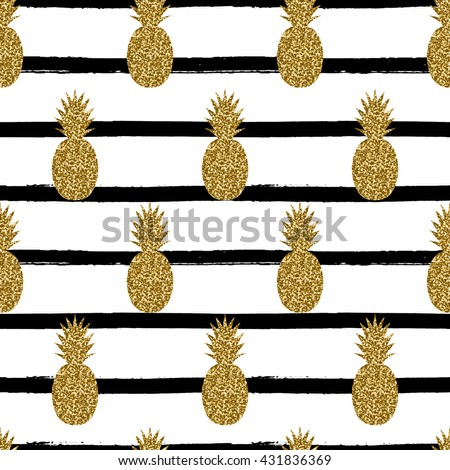 Seamless repeating pattern with pineapples in gold glitter on black and white stripes background. Modern textile, greeting card, poster, wrapping paper designs. - stock vector