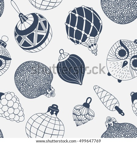 Seamless repeating pattern with various  hand drawn Christmas ornaments and baubles.