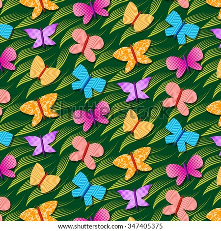 seamless repetitive pattern with butterflies - stock vector