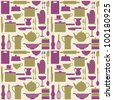 Seamless repetitive pattern with kitchen items in retro style. - stock vector