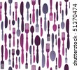 Seamless restaurant cutlery pattern in vector - stock photo