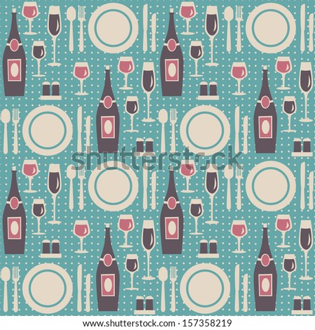 Seamless restaurant pattern. Vector illustration.  - stock vector