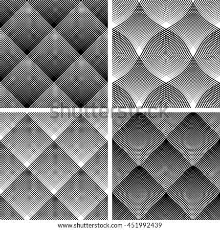 Seamless reticulate patterns set. Vector art. - stock vector