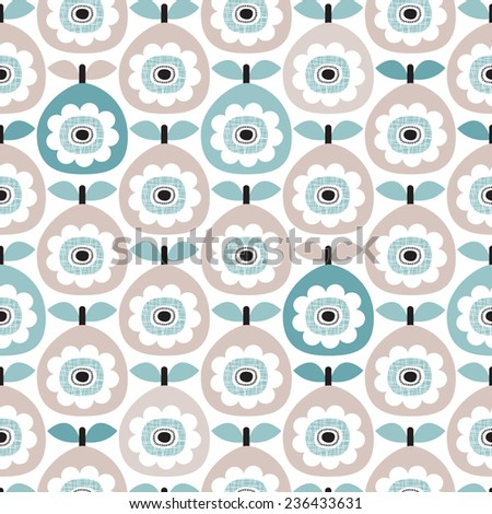 Seamless retro abstract pear fruit poppy flower blue pastel vintage floral background pattern in vector - stock vector