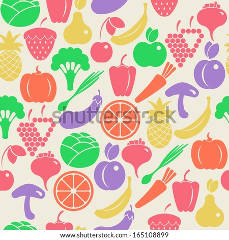 Seamless retro background with fruits and vegetables - stock vector