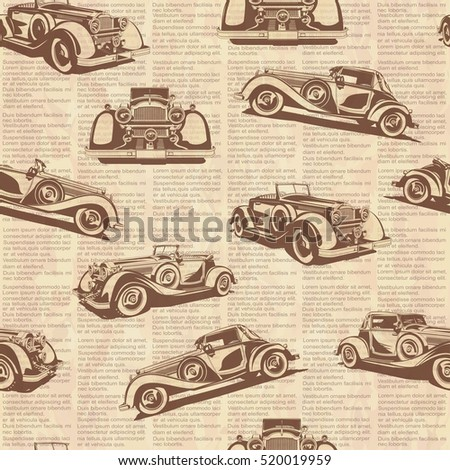 Seamless retro car old newspaper background.