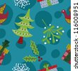 seamless retro christmas pattern with clipping path - stock vector