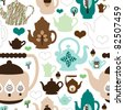 Seamless retro design tea pot china pattern background in vector - stock photo
