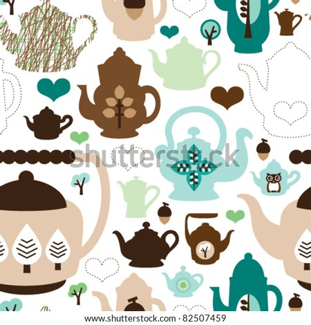 Seamless retro design tea pot china pattern background in vector - stock vector