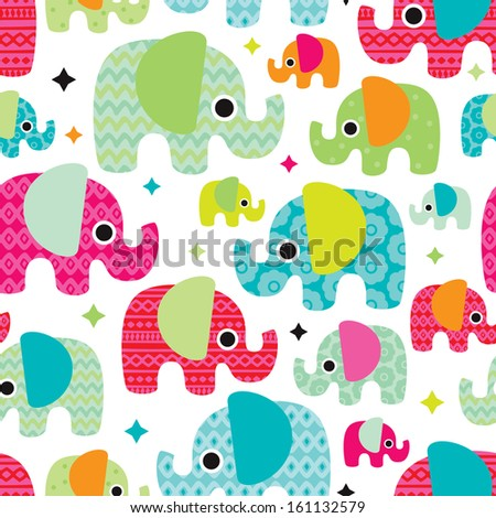 Seamless retro elephant kids illustration with aztec details pattern wallpaper background in vector  - stock vector