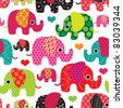 Seamless retro elephant kids pattern wallpaper background in vector - stock