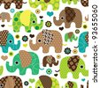 Seamless retro elephant kids pattern wallpaper background in vector - stock photo