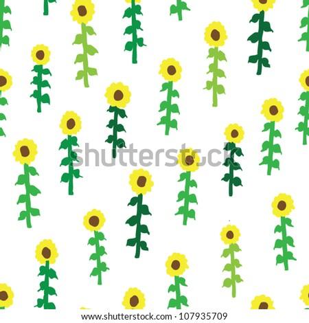 seamless retro fifties sunflower field pattern - stock vector