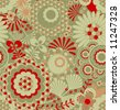 Seamless retro floral pattern - stock vector