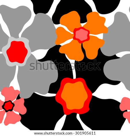 Seamless retro floral pattern. 1960s collection. Abstract vector background. Grey, red, pink, orange, black on white. Backgrounds & textures shop. - stock vector