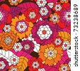 Seamless retro flower pattern background in vector - stock vector