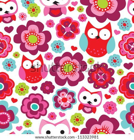 Seamless retro flowers and owl kids illustration background pattern in vector - stock vector
