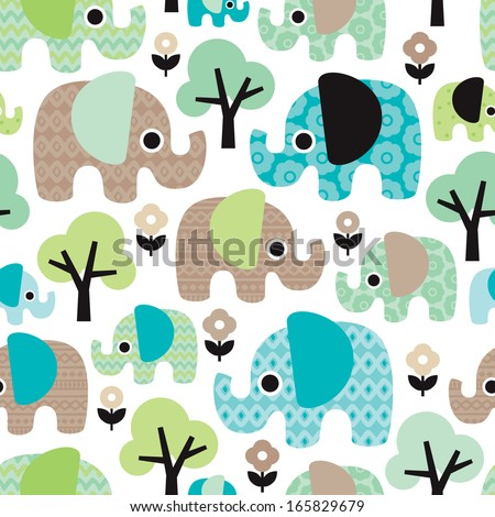 Seamless retro flowers elephant kids illustration pattern wallpaper background in vector  - stock vector