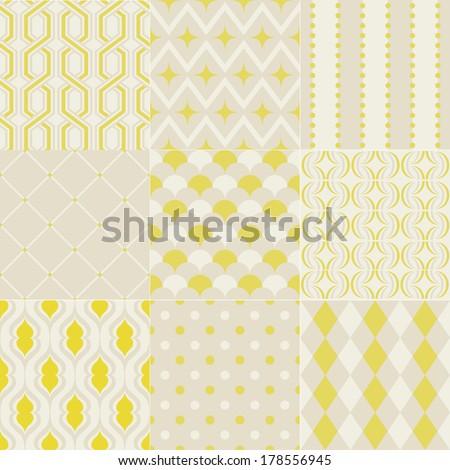 seamless retro geometric wallpaper pattern - stock vector