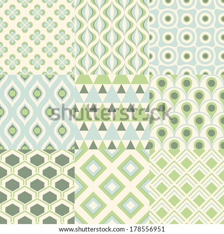 seamless retro geometric wallpaper pattern - stock vector