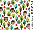 Seamless retro hedgehog illustration kids background pattern in vector - stock vector