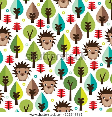 Seamless retro hedgehog illustration kids background pattern in vector - stock vector